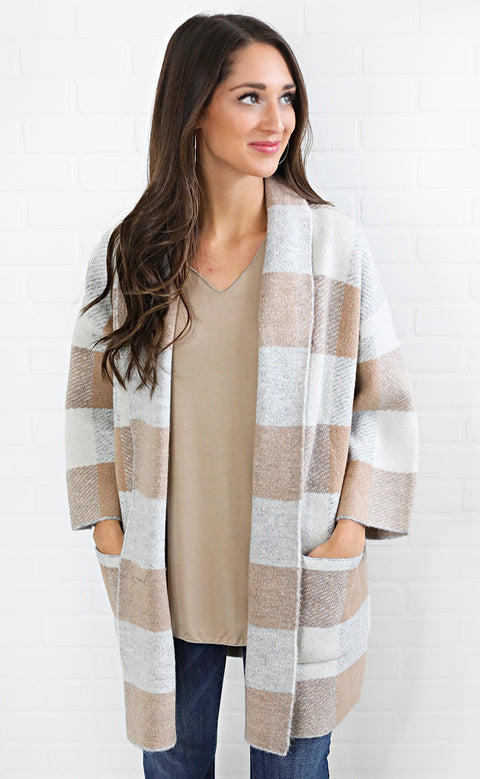 good and plaid knit cardigan