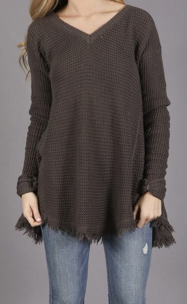 good natured waffle knit sweater - charcoal
