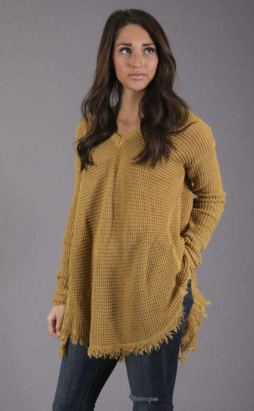 good natured waffle knit sweater - mustard