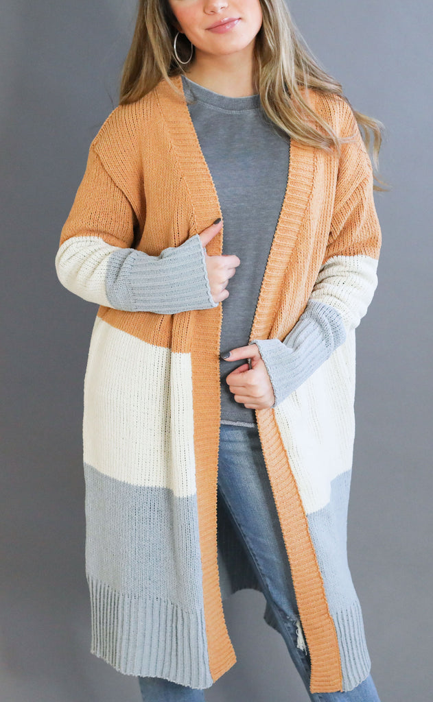 good news chenille cardigan - orange