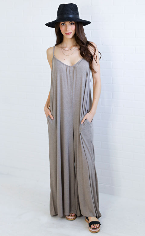 good vibrations ribbed jumpsuit - taupe