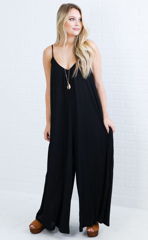 good vibrations ribbed jumpsuit - black