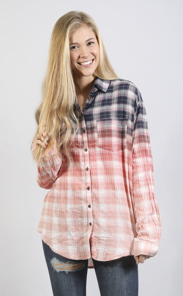 good to be plaid button up top - pink