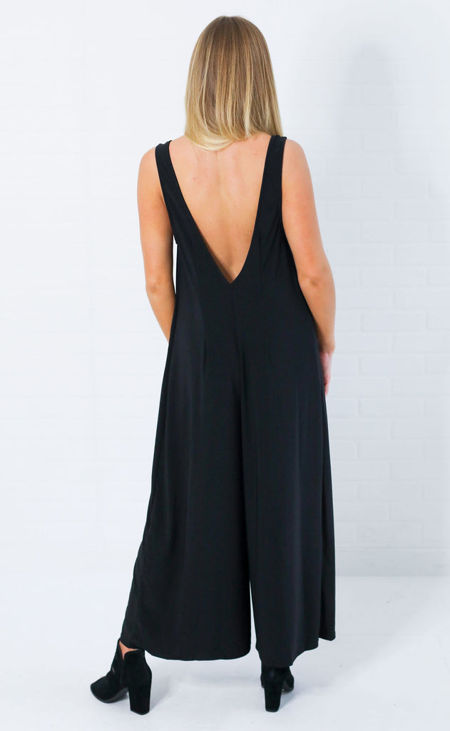 show me your mumu: goulding jumpsuit - black spandy