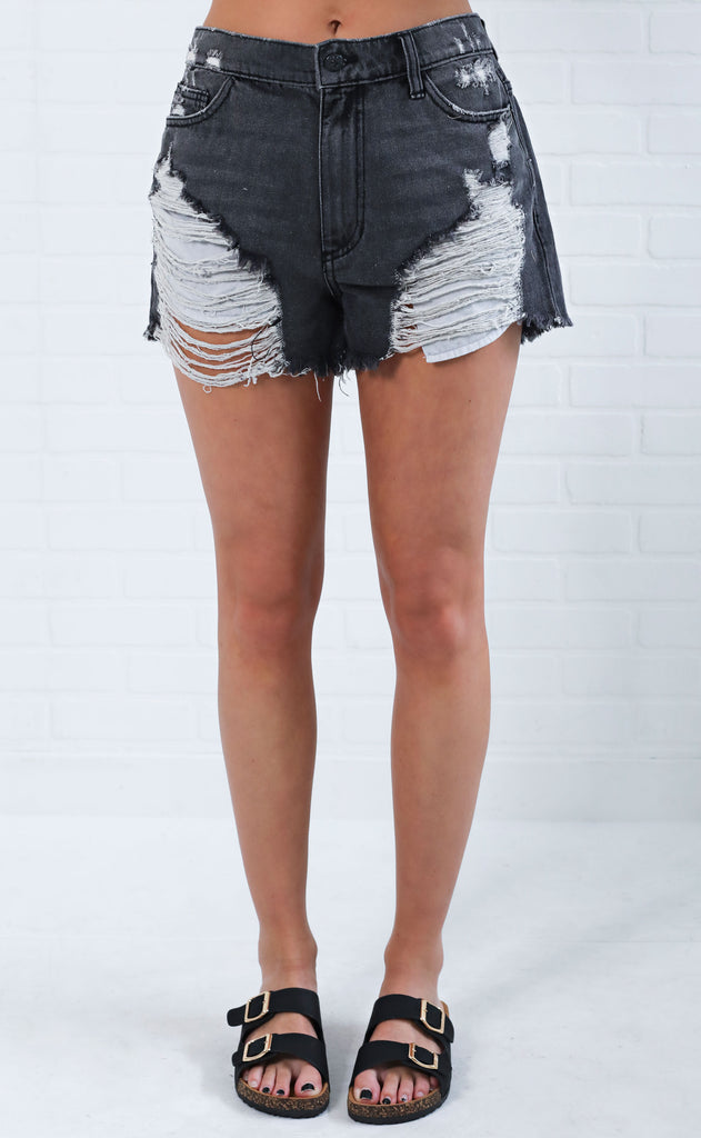 gravity distressed shorts