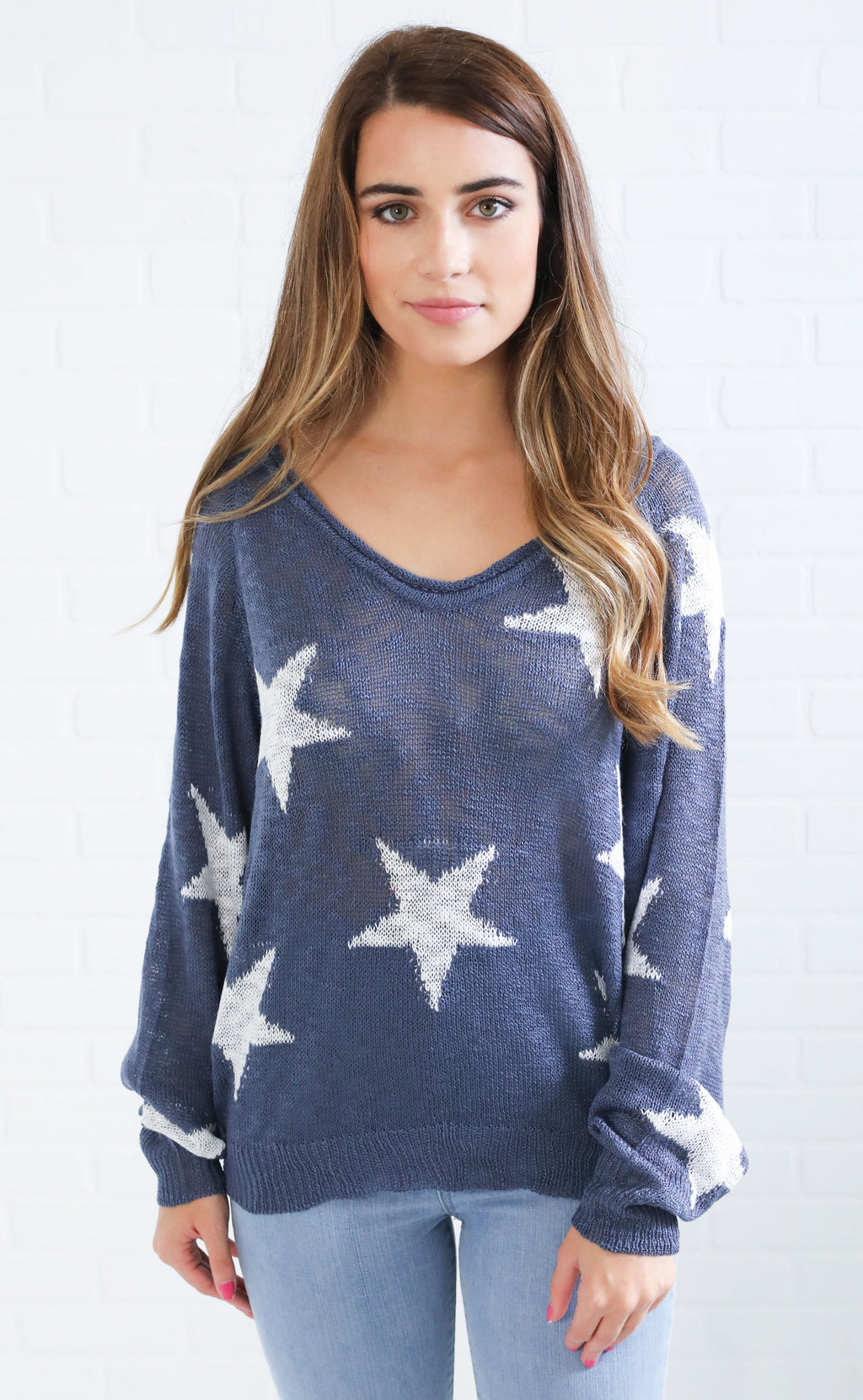 hall of fame knit sweater - blue