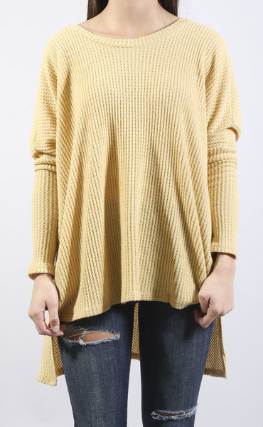 hanging around waffle knit top - yellow