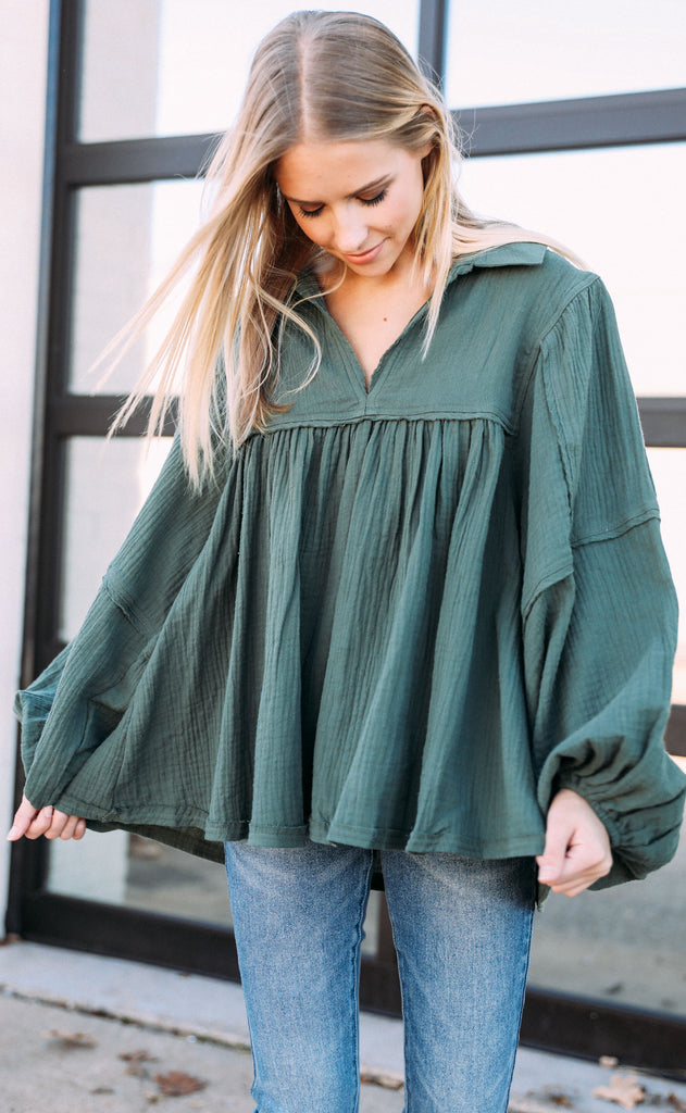 hangout flowy top - hunter