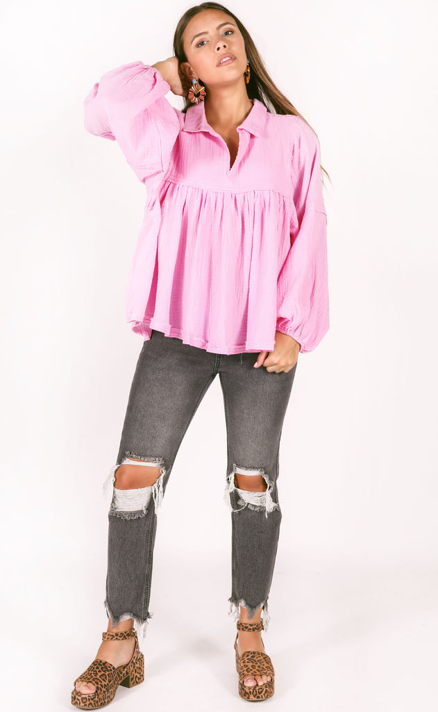 hangout flowy top - pink