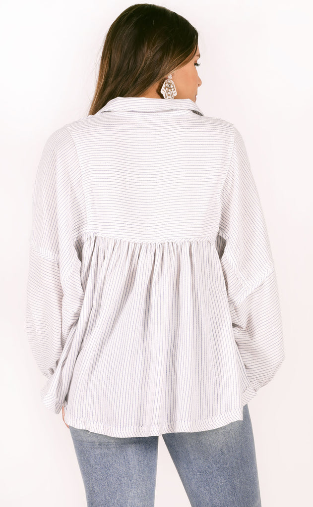 hangout flowy top - navy stripe