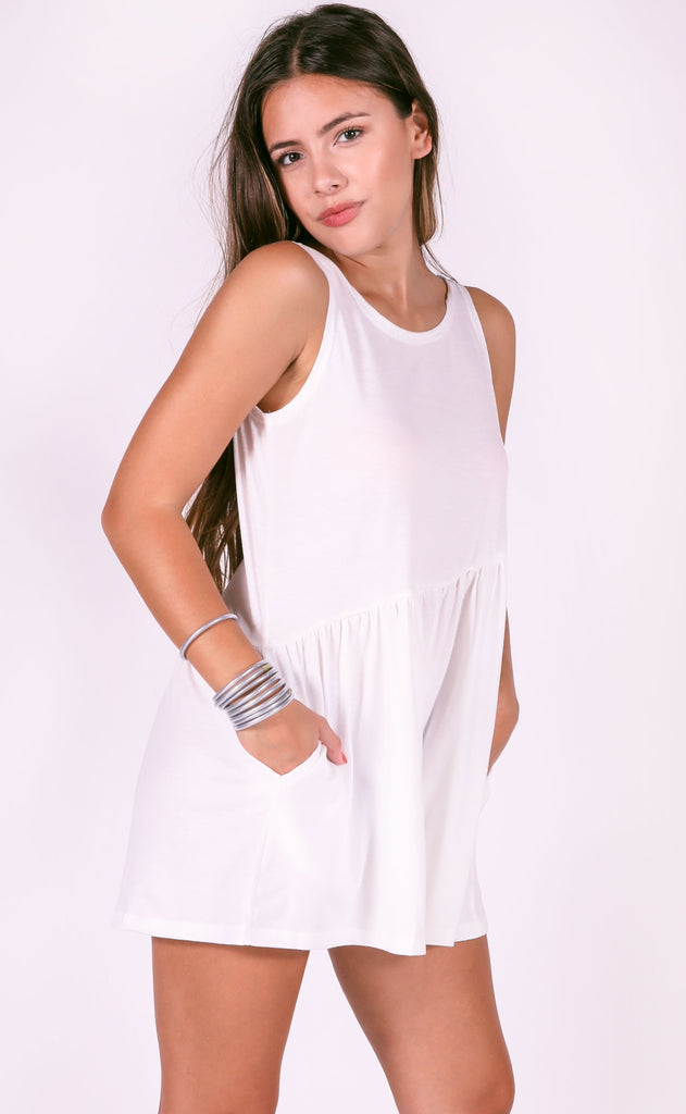 happy day basic romper - ivory