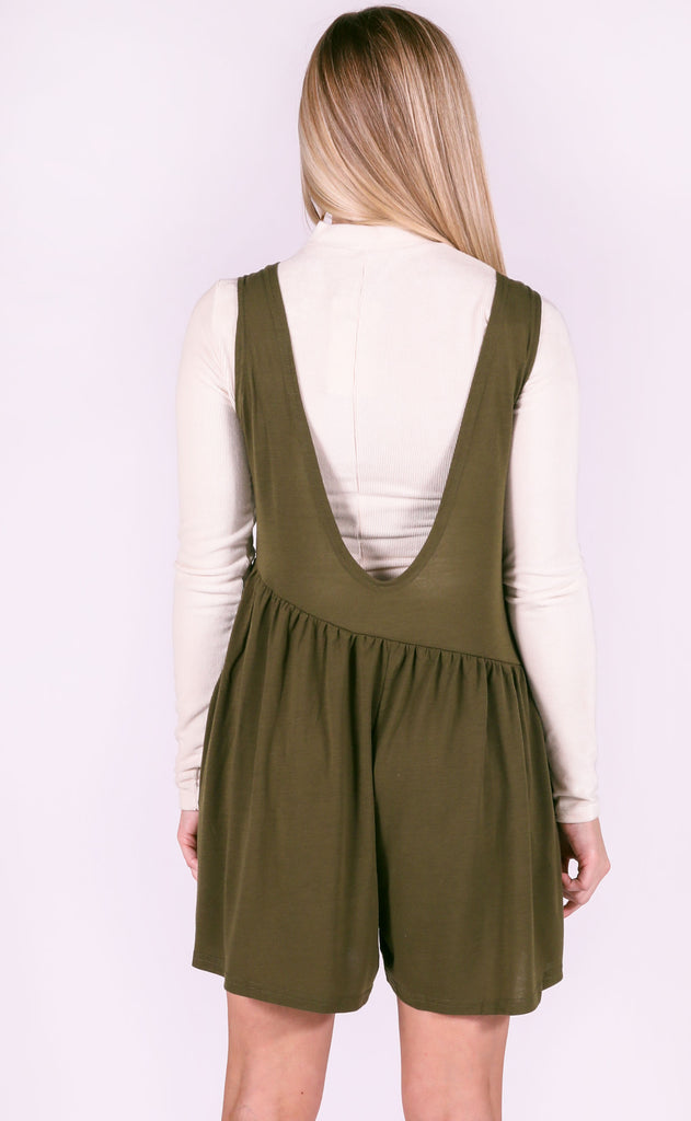 happy day basic romper - olive