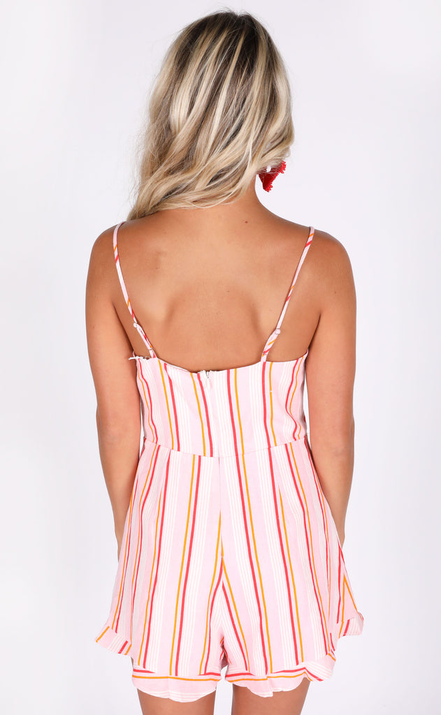 happy hour striped romper