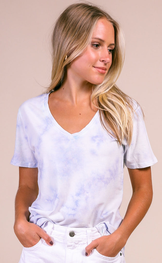 z supply: hazy v-neck tee - aqua reef