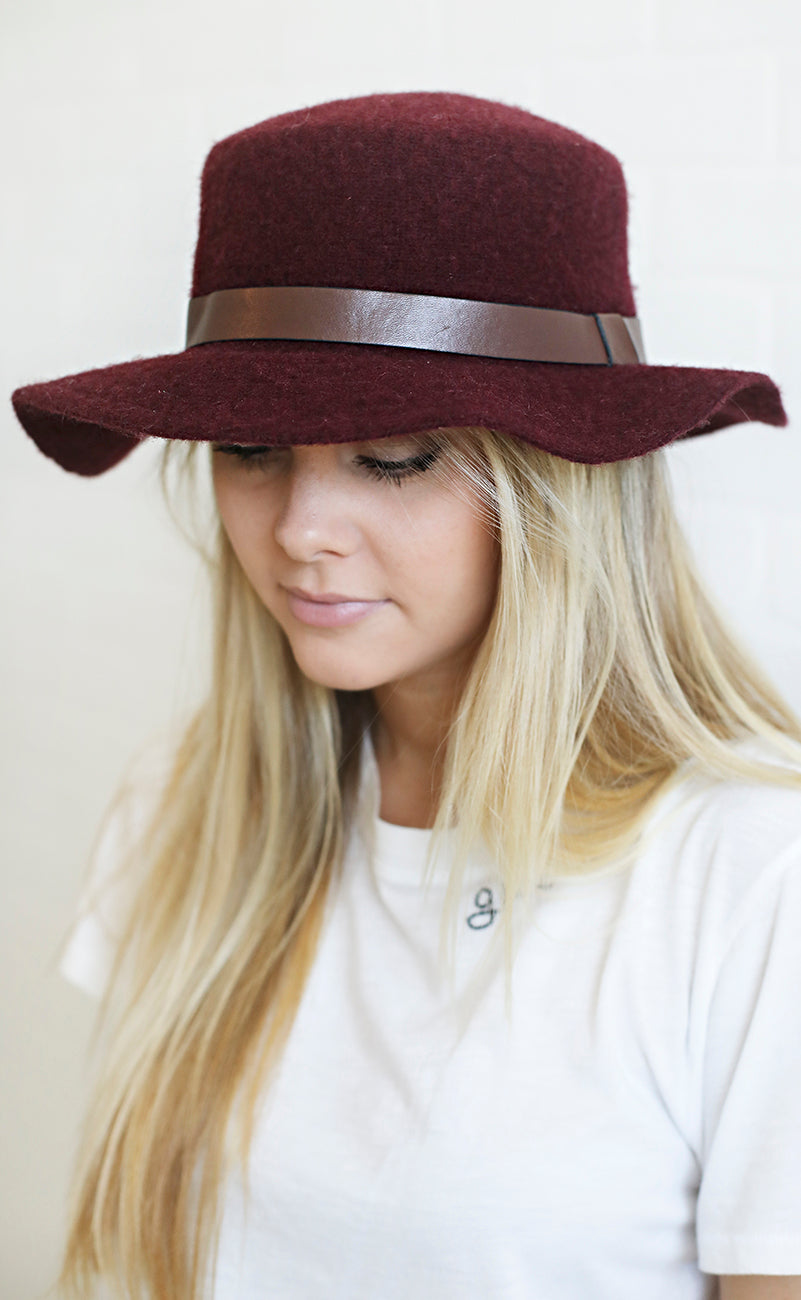 head start felt hat - burgundy