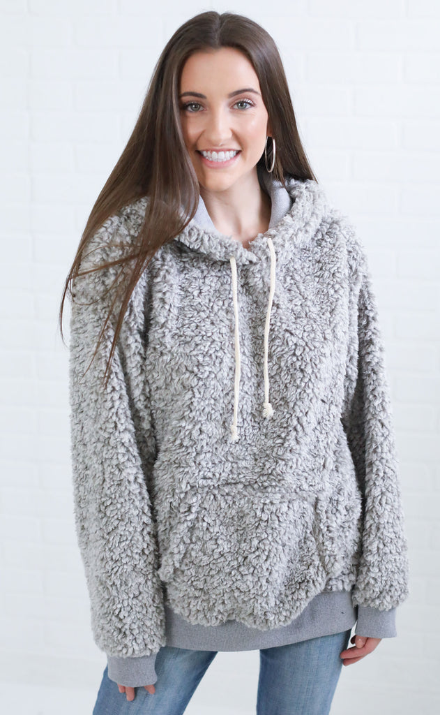 heart warming sherpa pullover - grey