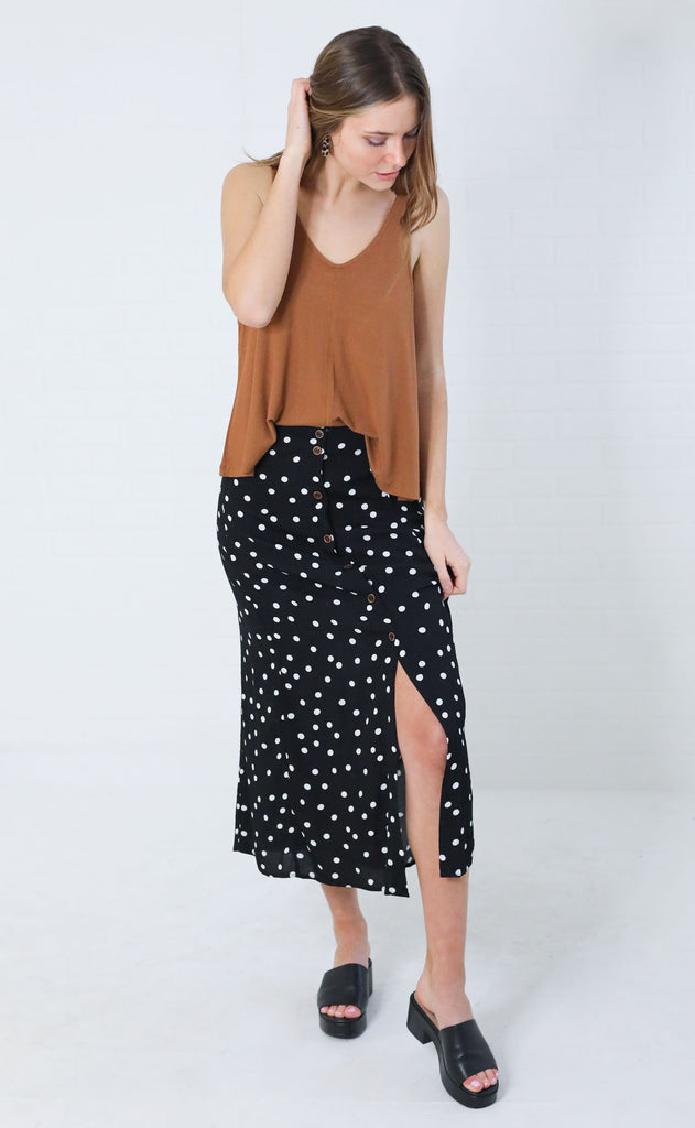 hepburn polka dot skirt - black