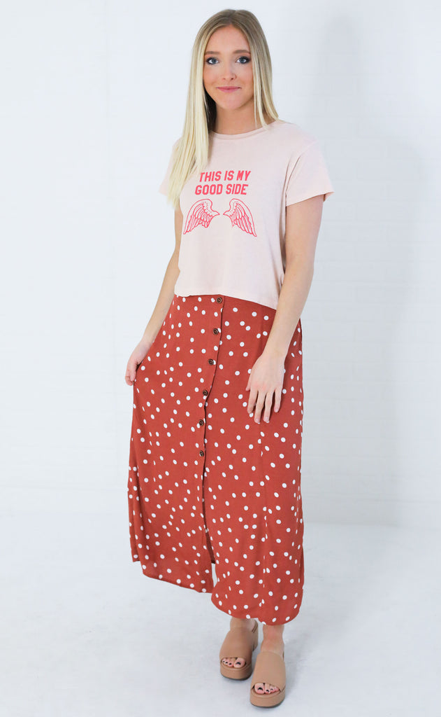 hepburn polka dot skirt - rose
