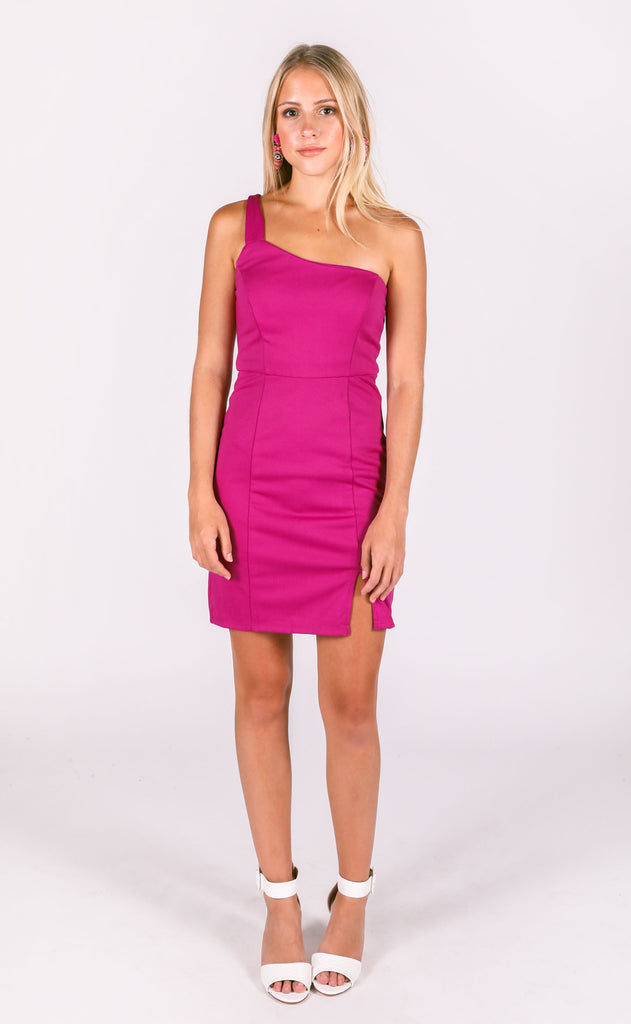 here to party one shoulder dress - berry