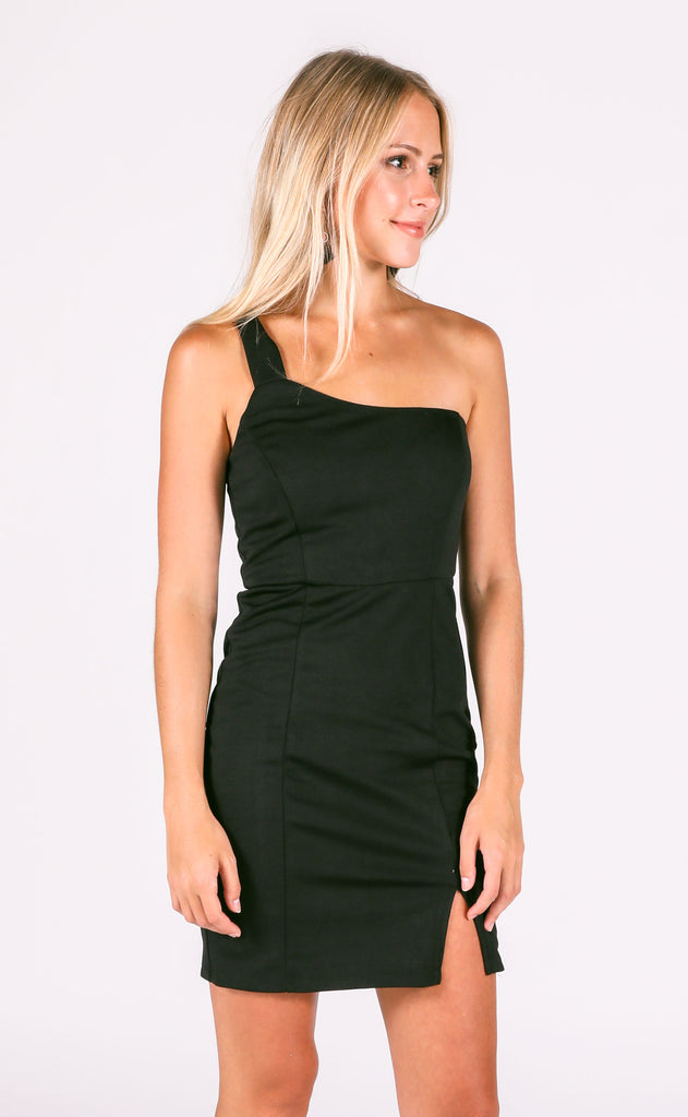 here to party one shoulder dress - black