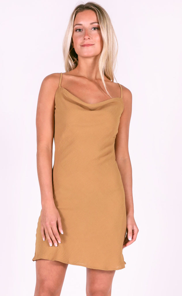 hidden hills slip dress - camel