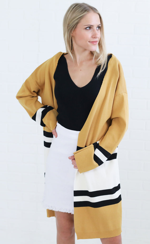 high road striped cardigan