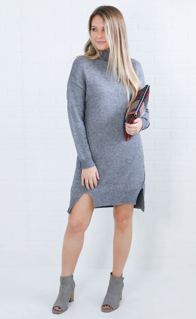 high priority sweater dress - grey