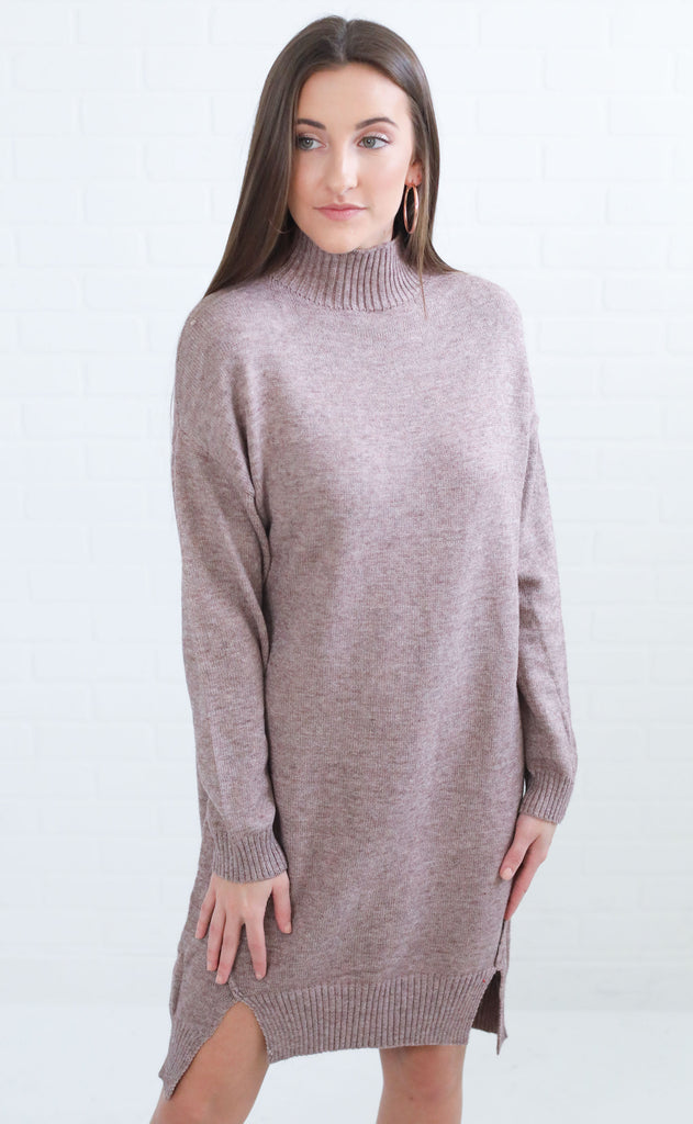 high priority sweater dress - mocha