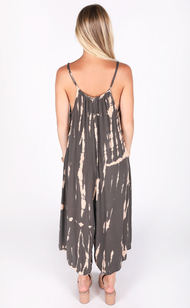 hit the beach tie dye jumpsuit