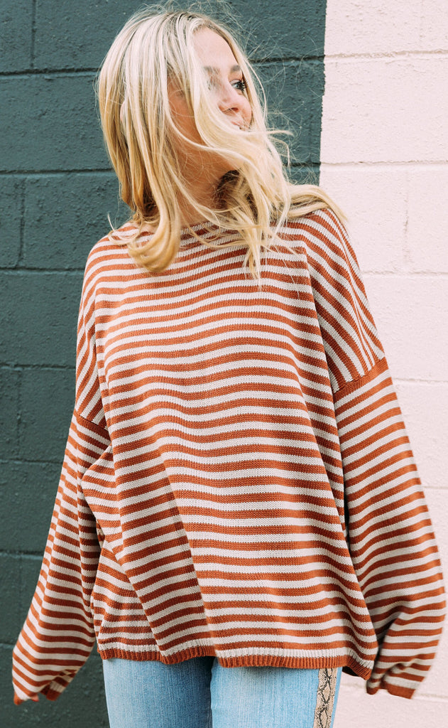 hit the road striped sweater - rust