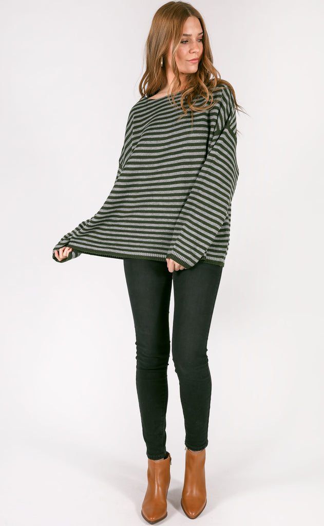 hit the road striped sweater - pine