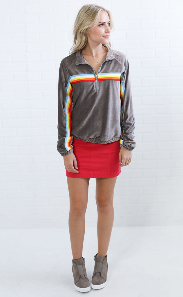 hit the slopes striped pullover