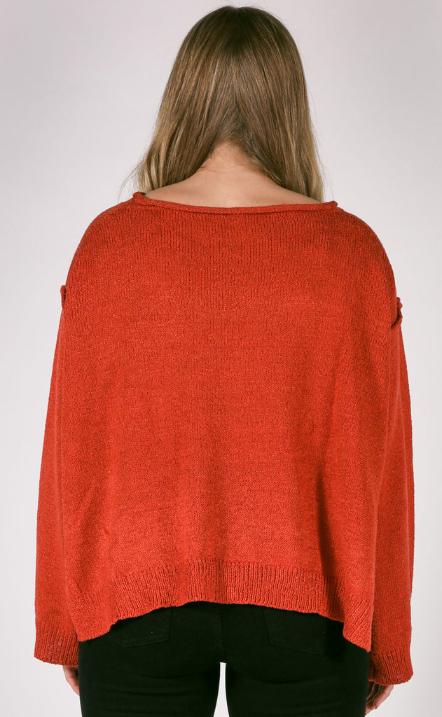 hit the slopes oversized sweater - rust