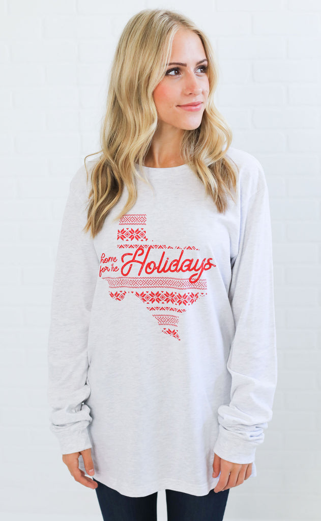 charlie southern: home for the holidays long sleeve t shirt - texas