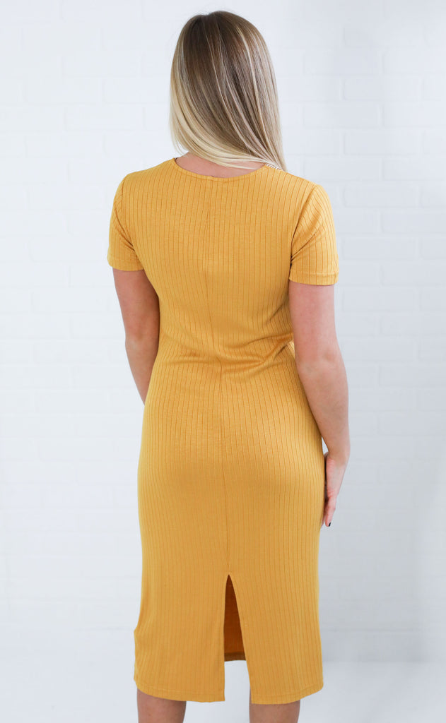 honey ribbed midi dress