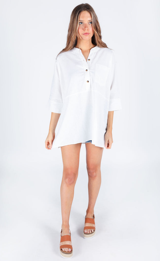show me your mumu: horton tunic - white linen