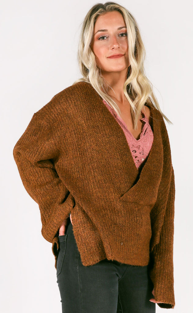 hot chocolate v-neck sweater