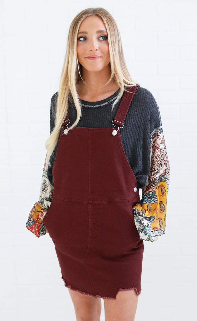 hot stuff overall dress - burgundy