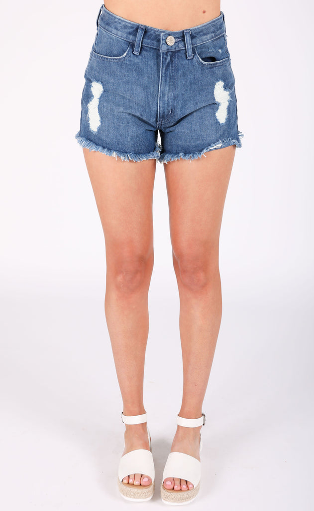 show me your mumu: houston high waisted shorts - palm beach