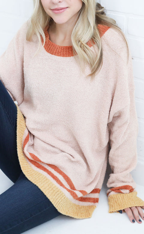 if only striped sweater - taupe/rust