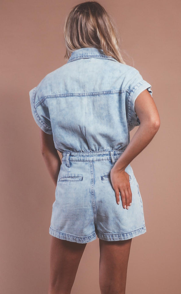 blank nyc: acid wash short sleeve romper - head backstage