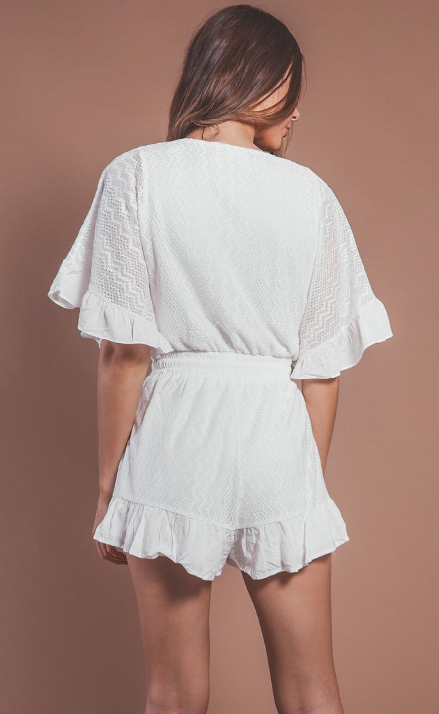 laced up ruffle romper