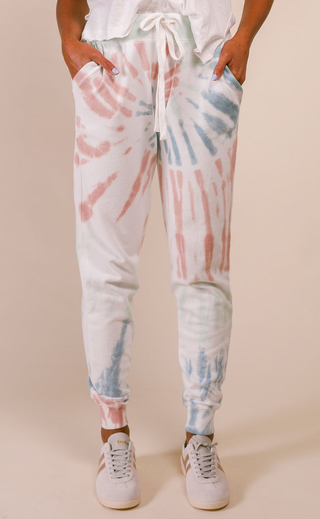 z supply: multicolor tie-dye jogger - desert white