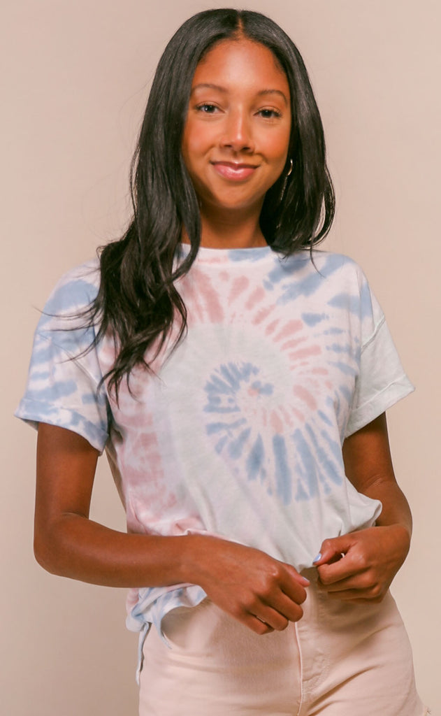 z supply: multicolor tie-dye tee - desert white