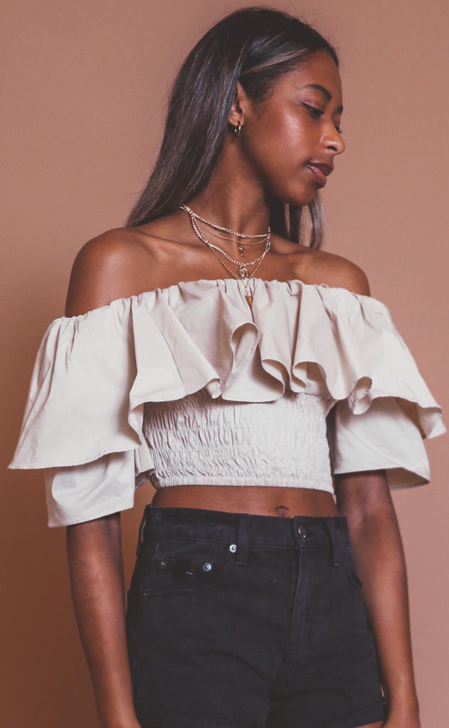 bare with me ruffle crop top