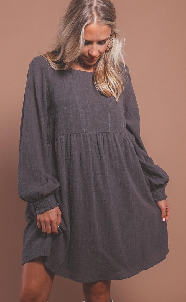 day trip babydoll dress - charcoal