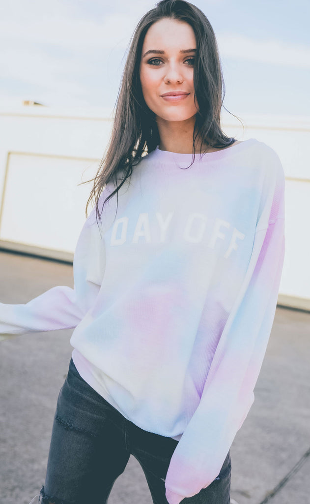 friday + saturday: day off corded sweatshirt