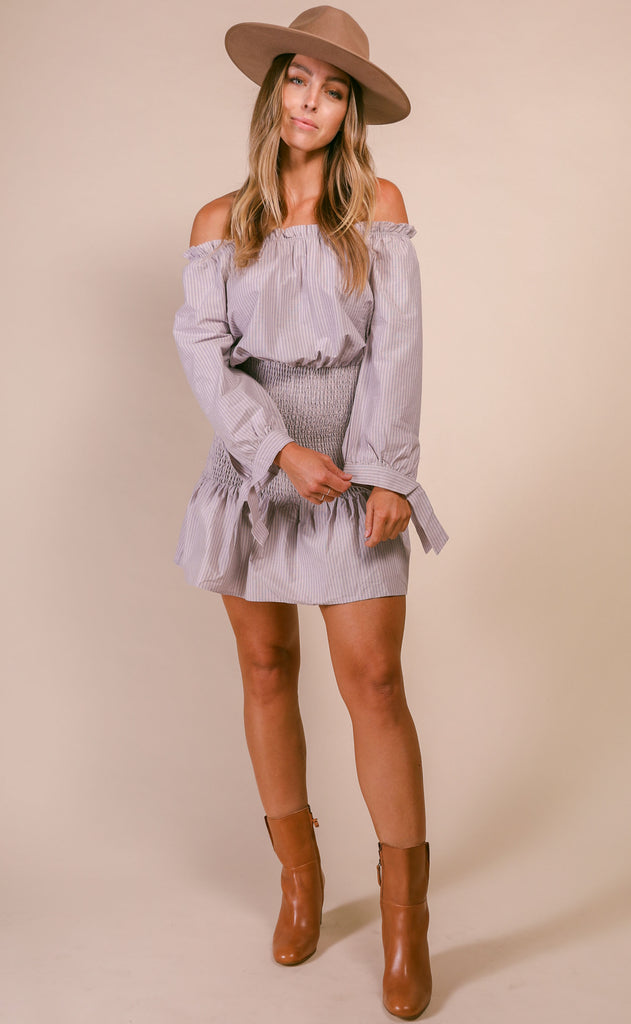 carolina smocked off shoulder dress - grey