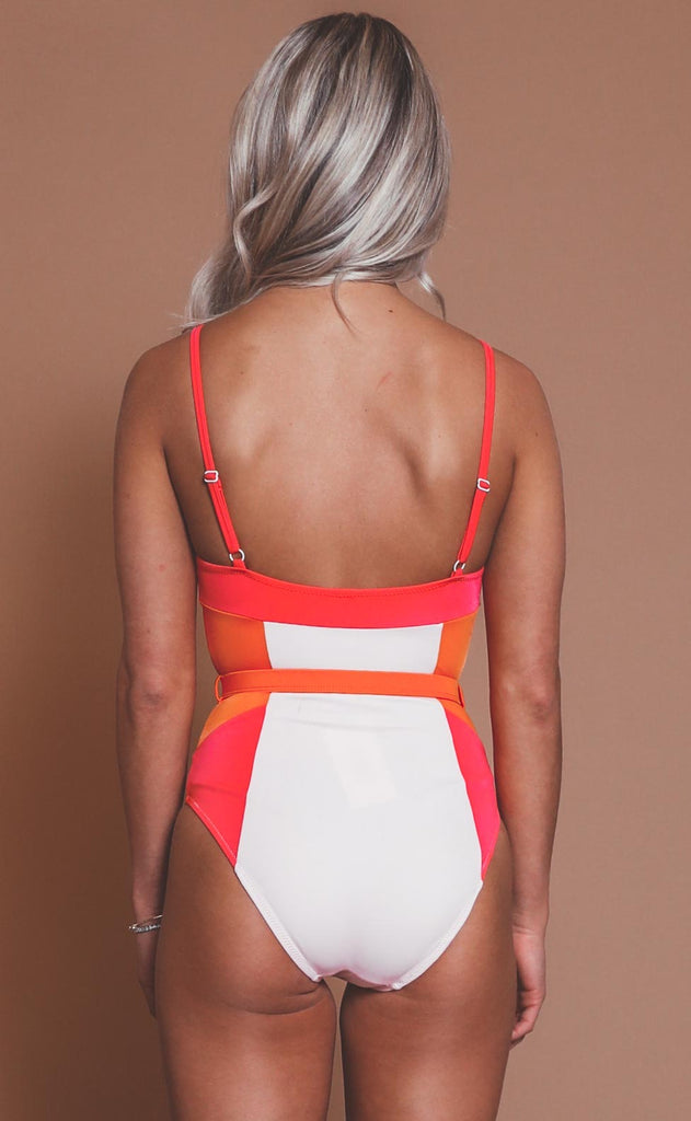 solid & striped: spencer one piece - pink/lolli/canteloupe