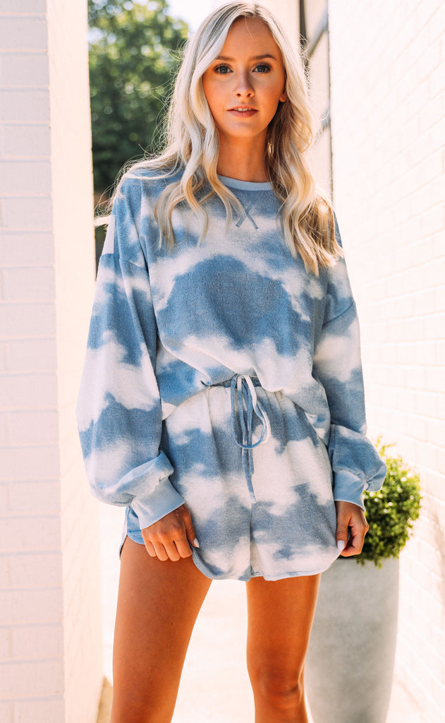 lounging in tie dye two piece set - blue